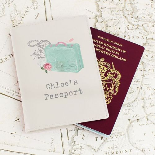 Personalised Vintage Suitcase Cream Passport Holder